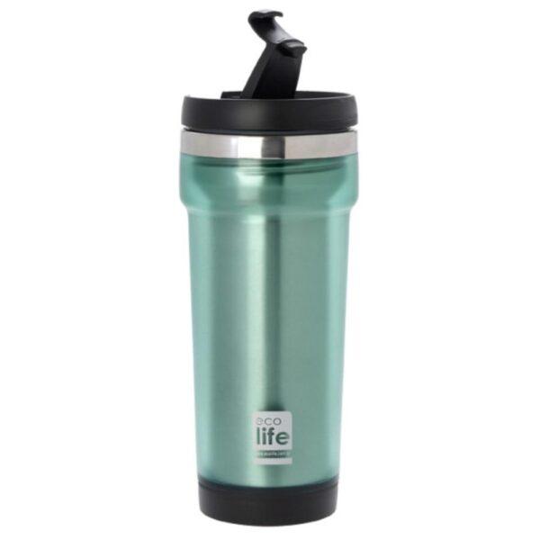 Coffee Thermos Mug Plast/S S - Green [33-BO-4007]