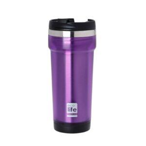 Coffee Thermos Mug Plast/S S Purple [33-BO-4011]