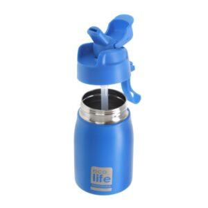 Νέο μεταλλ. μπουκάλι με καλαμάκι 400ml - Μπλε [33-BO-1998]